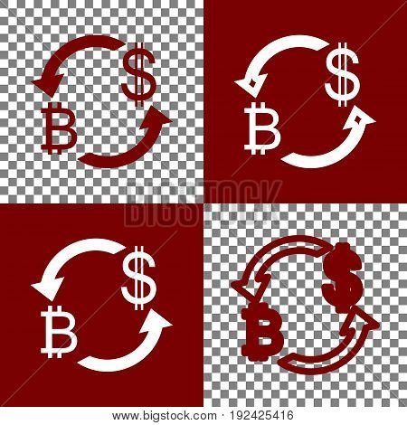 Currency exchange sign. Bitcoin and US Dollar. Vector. Bordo and white icons and line icons on chess board with transparent background.