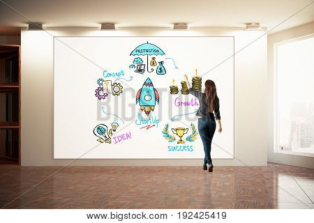 Back view of young woman drawing creative business sketch on whiteboard hanging in interior with city view. Financial growth concept. 3D Rendering