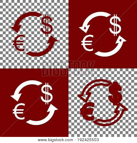 Currency exchange sign. Euro and US Dollar. Vector. Bordo and white icons and line icons on chess board with transparent background.