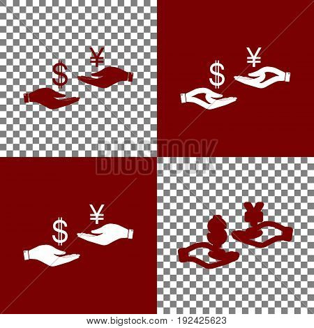 Currency exchange from hand to hand. Dollar and Yen. Vector. Bordo and white icons and line icons on chess board with transparent background.