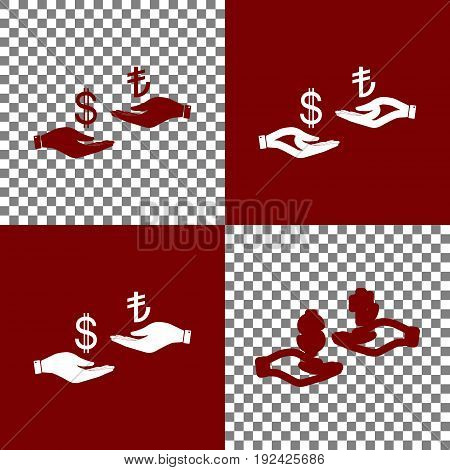 Currency exchange from hand to hand. Dollar and Turkey Lira. Vector. Bordo and white icons and line icons on chess board with transparent background.
