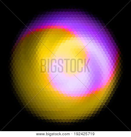 Hexagonal spherical object with glowing spiral. Yellow pink and violet simple abstract background of hexagons