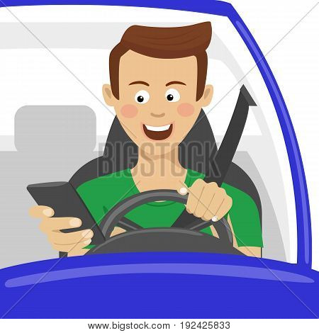 Young man using his smartphone behind the wheel. Problem addiction danger concept, dangerous situation