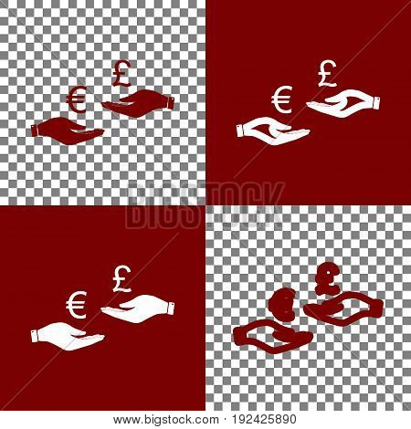 Currency exchange from hand to hand. Euro and Pound. Vector. Bordo and white icons and line icons on chess board with transparent background.