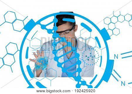 Digital composite of Medical models with DNA graphics or backgrounds