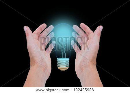 Digital composite of bulb on hands