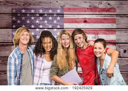 Digital composite of students with American flag background