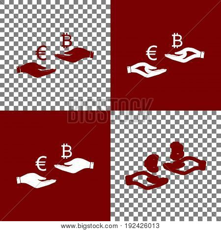 Currency exchange from hand to hand. Euro an Bitcoin. Vector. Bordo and white icons and line icons on chess board with transparent background.