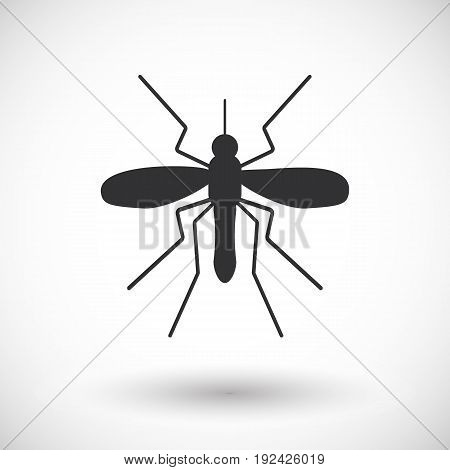 Mosquito vector flat icon Flat design of parasitic animal isolated on the white background with round shadow vector illustration