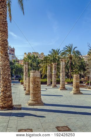 Archaeological Garden. In the garden are the archaeological objects that were found in the territory of Valencia Spain