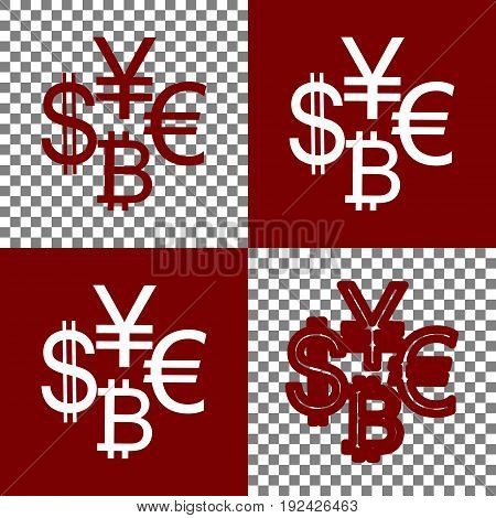 Currency sign collection dollar, euro, bitcoin, yen. Vector. Bordo and white icons and line icons on chess board with transparent background.