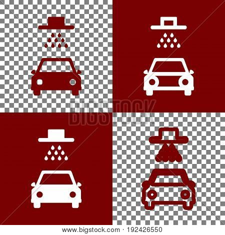 Car wash sign. Vector. Bordo and white icons and line icons on chess board with transparent background.