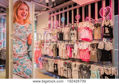 NETHERLANDS - THE HAGUE - JUNE 23 2017: Store from the Primark chain in the center of The Hague Netherlands with varied collection of products. Primark opened its first shop in Dublin in 1969.