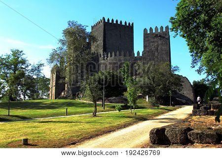 View of Guimarães Castle, Portugal. Unesco World Heritage Site