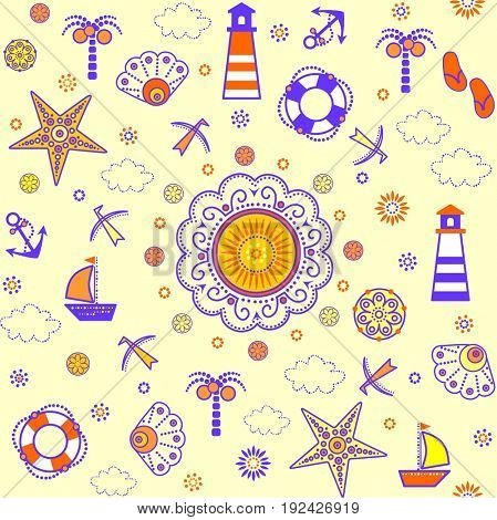 Funny summery abstract decorative childish wallpaper with nautical pattern