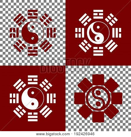 Yin and yang sign with bagua arrangement. Vector. Bordo and white icons and line icons on chess board with transparent background.
