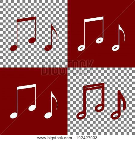 Music notes sign. Vector. Bordo and white icons and line icons on chess board with transparent background.