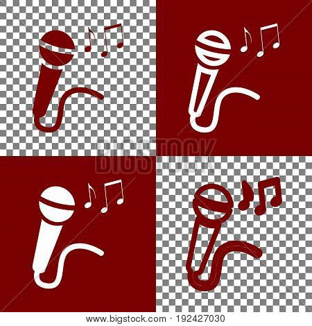 Microphone sign with music notes. Vector. Bordo and white icons and line icons on chess board with transparent background.