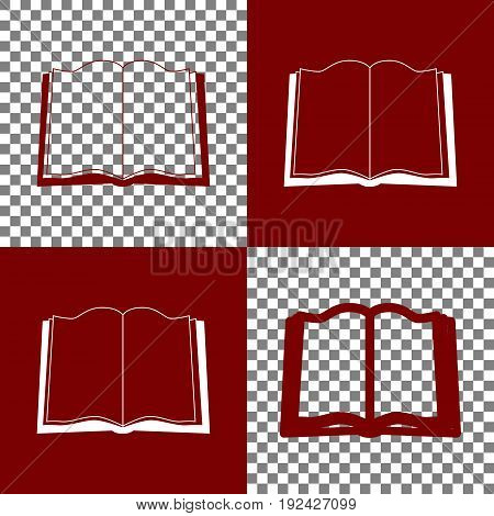 Book sign. Vector. Bordo and white icons and line icons on chess board with transparent background.
