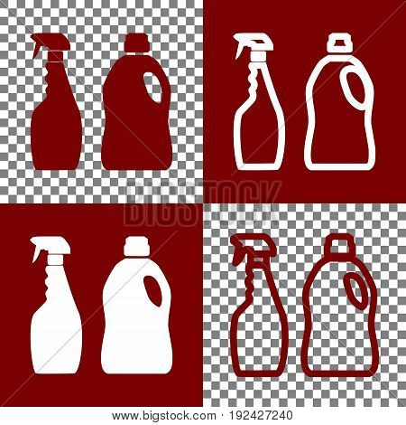 Household chemical bottles sign. Vector. Bordo and white icons and line icons on chess board with transparent background.