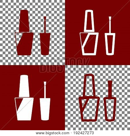Nail polish sign. Vector. Bordo and white icons and line icons on chess board with transparent background.