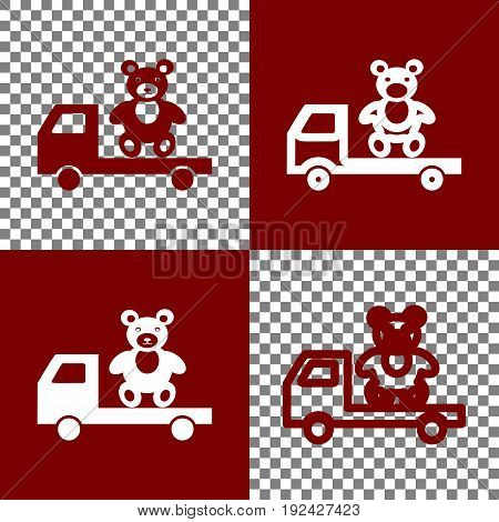 Truck with bear. Vector. Bordo and white icons and line icons on chess board with transparent background.