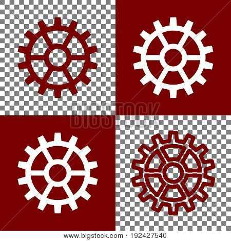 Gear sign. Vector. Bordo and white icons and line icons on chess board with transparent background.