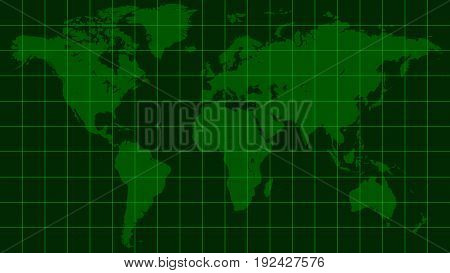 world map earth, dark green radar screen matrix style, vector template world map radar, the background of the monitor screen