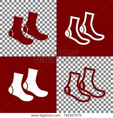 Socks sign. Vector. Bordo and white icons and line icons on chess board with transparent background.