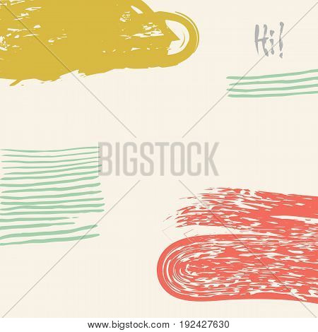 Vector hand drawn creative card. Ink grunge design for cover. Isolated brush stroke abstract print. Vintage painted background.