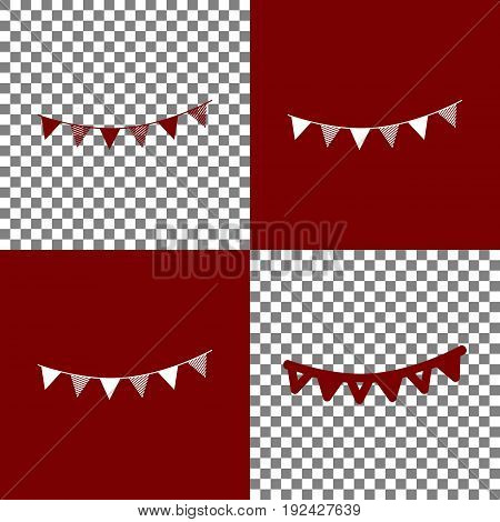 Holiday flags garlands sign. Vector. Bordo and white icons and line icons on chess board with transparent background.