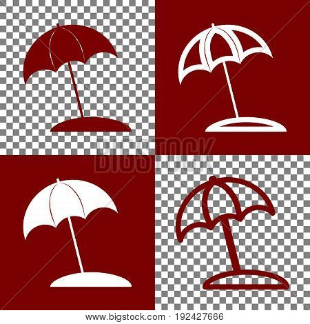 Umbrella and sun lounger sign. Vector. Bordo and white icons and line icons on chess board with transparent background.