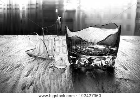 Broken Whiskey Glass With Shrapnel