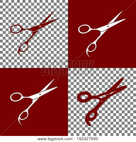 Hair cutting scissors sign. Vector. Bordo and white icons and line icons on chess board with transparent background.