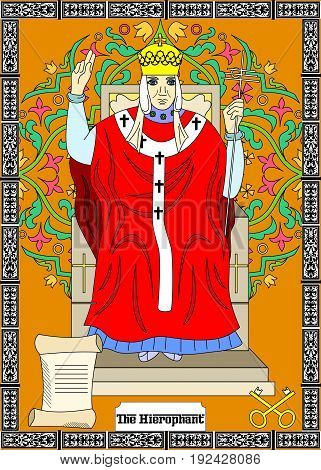 the illustration - card for tarot - the hierophant.
