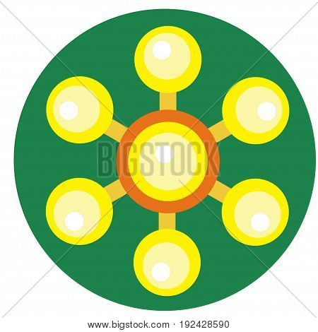 Yellow spinner with balls on blades a flat style. Vector image on a round dark green background. Element of design, interface.