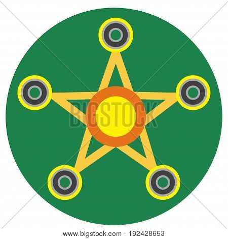 Yellow spinner in the form of a star a flat style. Vector image on a round dark green background. Element of design, interface.