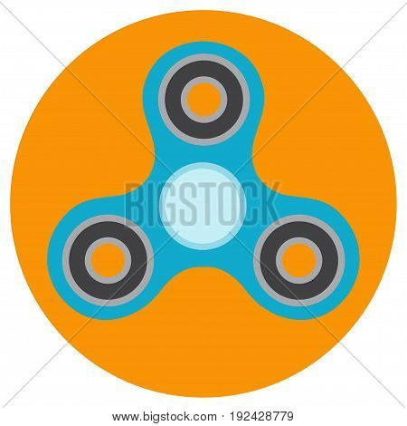The blue hand-spinner is of classical shape a flat style. Vector image on a round orange background. Element of design, interface.