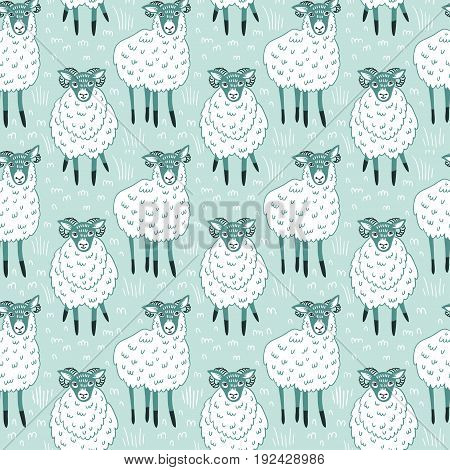 Seamless pattern with sheep on blue background. Vector cute fabric design.
