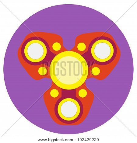 Red spinner with yellow circles a flat style. Vector image on a round purple background. Element of design, interface.