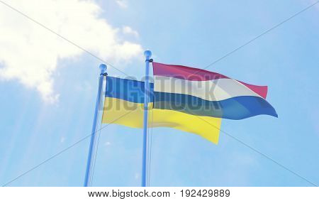 Ukraine and Netherlands, two flags waving against blue sky. 3d image
