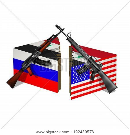 Russia The United States and Syria the flags are located on the sides of the cube in a rift with weapons of the countries. Isolated object on white background.