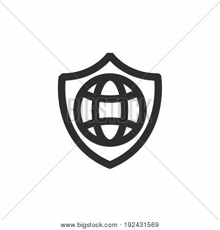 Shield and globe line icon outline vector sign linear style pictogram isolated on white. Internet protection symbol logo illustration. Thick line design. Pixel perfect graphics