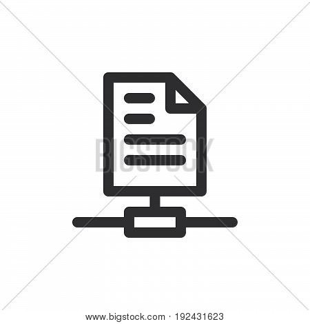 Sharing files line icon outline vector sign linear style pictogram isolated on white. Symbol logo illustration. Thick line design. Pixel perfect graphics