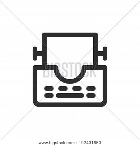 Typewriter line icon outline vector sign linear style pictogram isolated on white. Symbol logo illustration. Thick line design. Pixel perfect graphics
