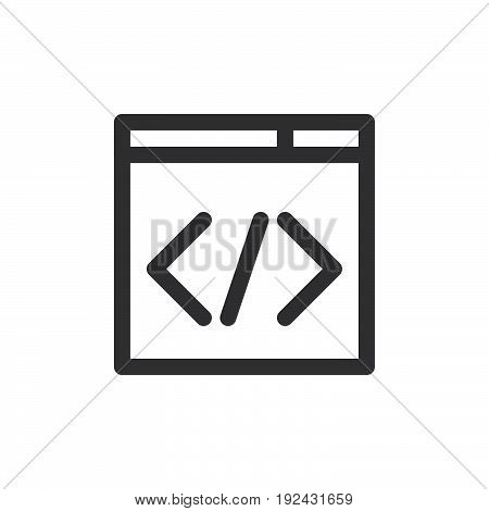 Custom code line icon outline vector sign linear style pictogram isolated on white. Coding symbol logo illustration. Thick line design. Pixel perfect graphics