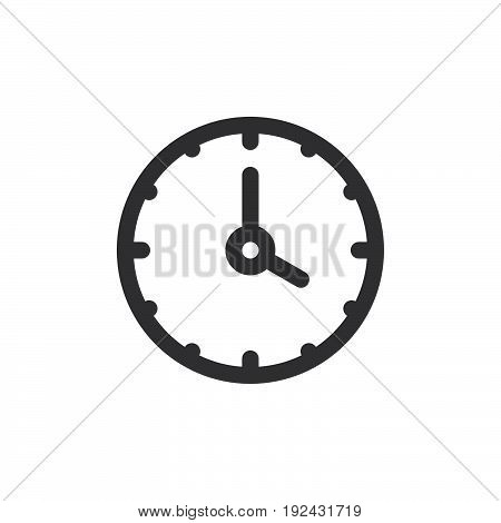 Clock line icon outline vector sign linear style pictogram isolated on white. Time symbol logo illustration. Thick line design. Pixel perfect graphics
