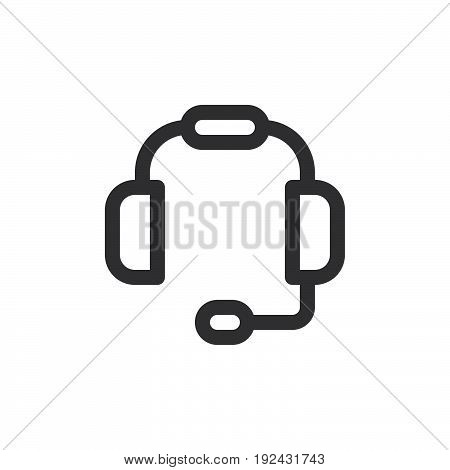 Headset line icon outline vector sign linear style pictogram isolated on white. Customer support symbol logo illustration. Thick line design. Pixel perfect graphics