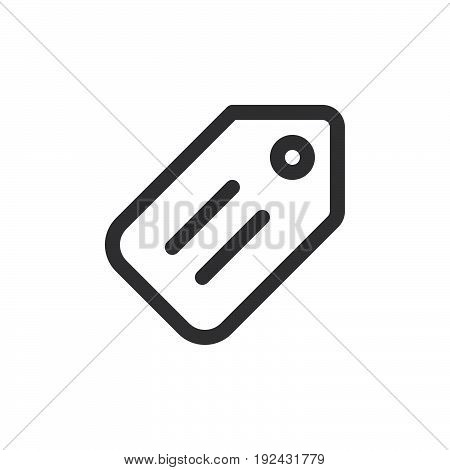 Price tag line icon outline vector sign linear style pictogram isolated on white. Symbol logo illustration. Thick line design. Pixel perfect graphics