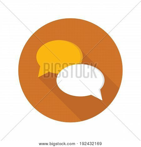 Chat icon in flat style on circle for web, infographics and creative design